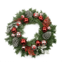 "24"""" Red and Silver Holly Artificial Christmas Wreath"