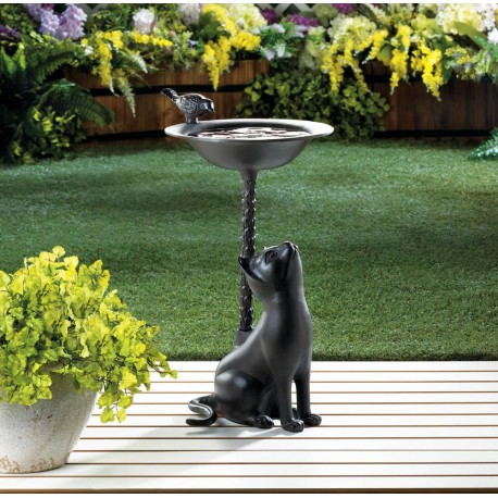 Brown Cat Bird Bath
