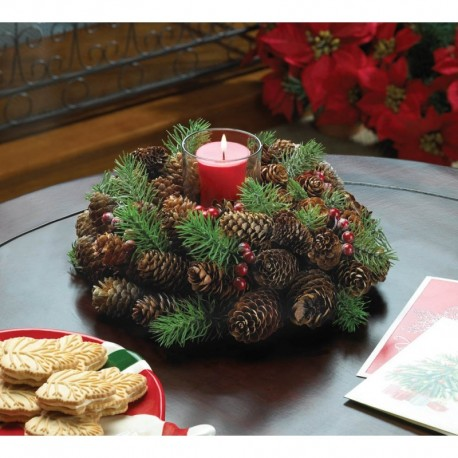 Pine Cone Wreath Candleholder
