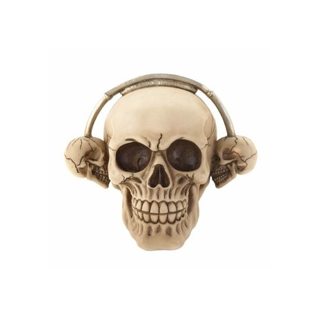 Rockin Headphone Skull Figurine