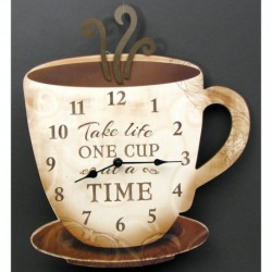Coffee Clock Take Life One Cup at a Time""""
