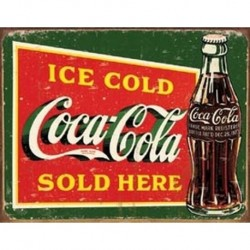 Tin Sign Coke - Ice Cold Green