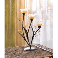 Amber Lilies Tealight Holder