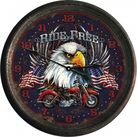 Ride Free Rusted Clock
