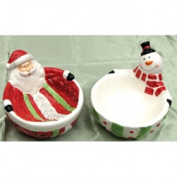 Ceramic Santa & Snowman bowls Set of 2