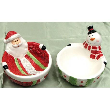 Ceramic Santa & Snowman bowls Set of 2