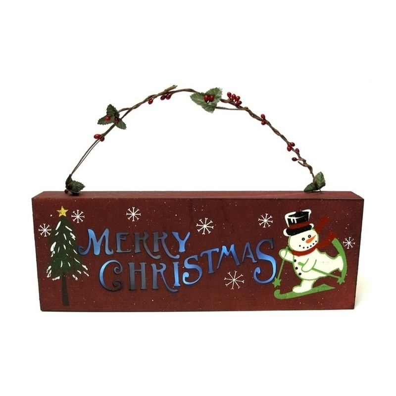 Merry Christmas Wall Lights : Wooden Merry Christmas Wall Plaque with Lights - DB Decorate