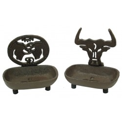 Cast Iron Rust Western Soap Dish Set of 2