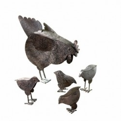 Metal Chicken Sculptures - 5 PIECE SET