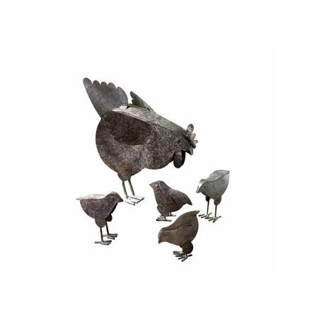 Metal Chicken Sculptures - 5 PIECE SET