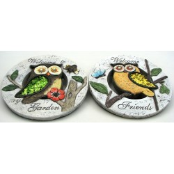 SET of 2 - Owl Cement Garden Stones