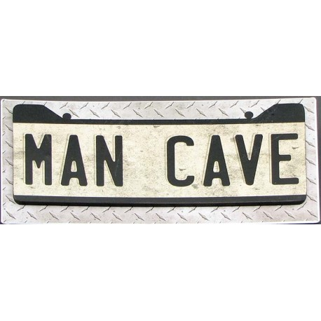 MAN CAVE sign Metal on Wood