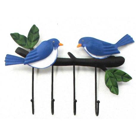 Metal Bluebird 4 Wall Hooks