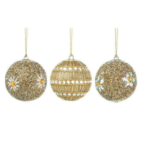 Golden Beaded Ball Ornament Trio