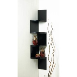 Zig Zag 4-Tier Black Corner Shelf