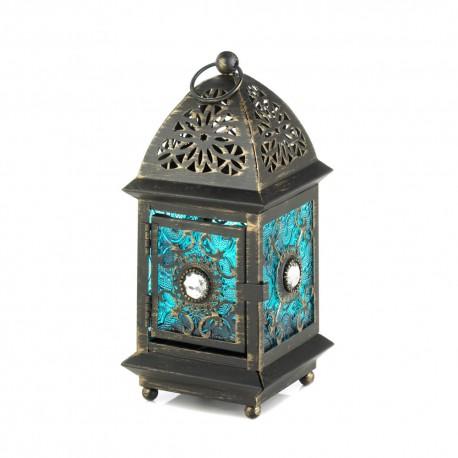 Jeweled Blue Glass Lantern