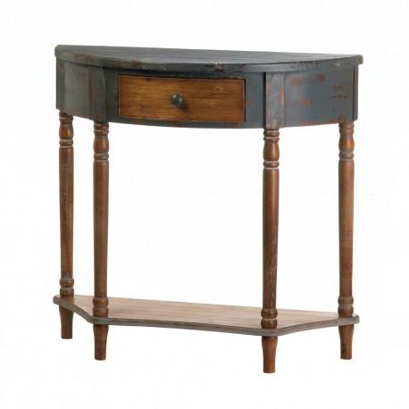 Wood Half Moon Hall Table