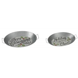 Galvanized Christmas Trays Set
