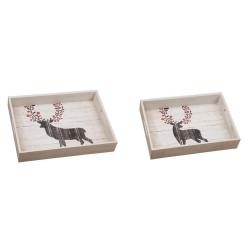 Wooden Reindeer Serving Trays Set