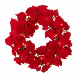 Fairy Lights Poinsettia Wreath