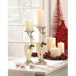 White Reindeer Candle Holder Set