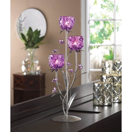 Fuchsia Blooms Candle Holder