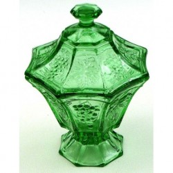 Green Cookie Jar with Grape Clusters & Leaves