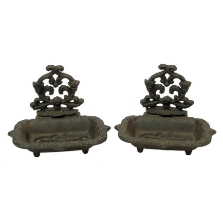 Cast Iron Old Style Victorian Soap Dish Set of 2