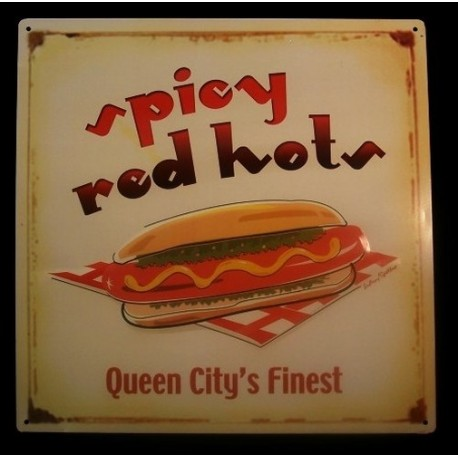 Tin Sign Spicy Hot Dog