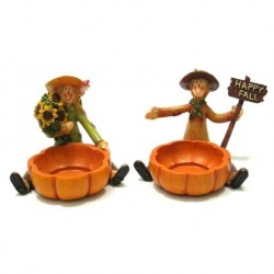 SET OF 2 - Scarecrow Harvest Candleholders