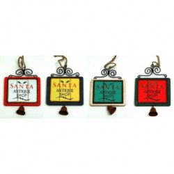 WoodMetal Sign Ornaments with Bell Set of Four