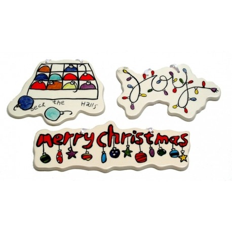 Merry Christmas Ceramic Ornaments Set of Three