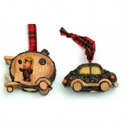 Rustic Log Car Ornaments Set of Two