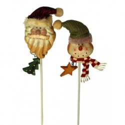 Wooden Santa & Snowman Pick Set of 2