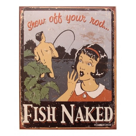 Tin Sign Fish Naked/Rod