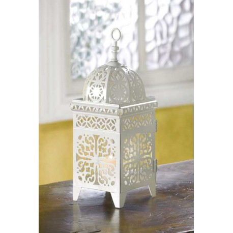 White Filigree Candle Lantern