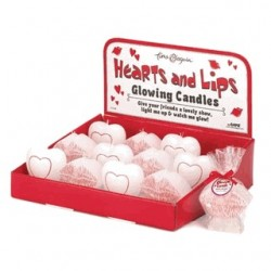 12 Hearts & Lips Glowing Candles