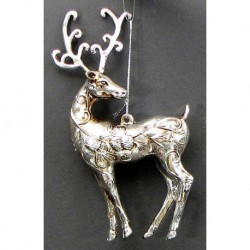 Silver Reindeer Ornament