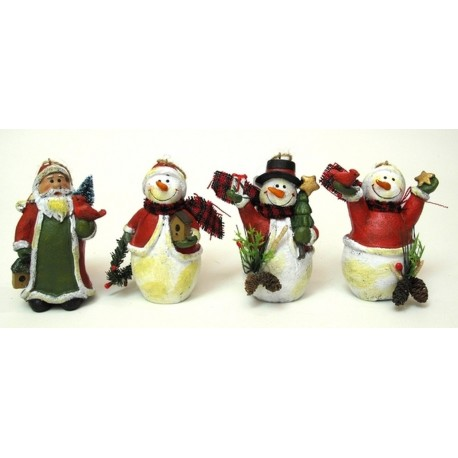 Resin Santa/Snowman Ornaments Set of Four