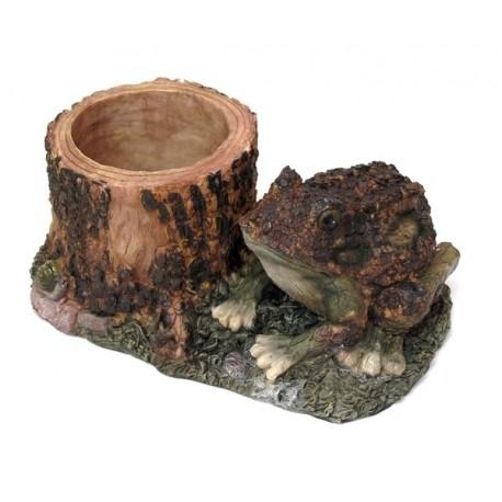 Wood-look Frog Planter