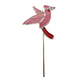 Cardinal Art Glass Garden Stake