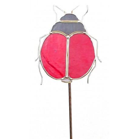 Ladybug Art Glass Garden Stake