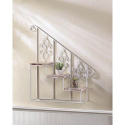 White Stair Steps Wall Shelf