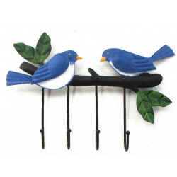Metal Bluebird 4 Wall Hooks